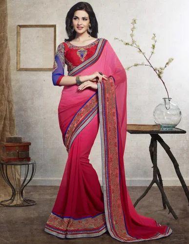 Bridal Wear Embroidered Designer Wedding Saree, 5.5 m (separate blouse piece)