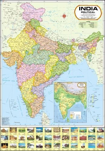 India Map Political Size 140 X 100 Cm Rs 100 Piece Vidya Chitr