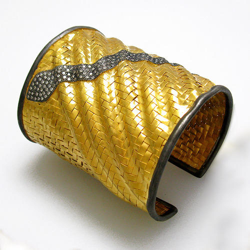 cc52ccf5f99 Snake Designs Cz Pave Setting Basket Weave Cuff Bangle ...