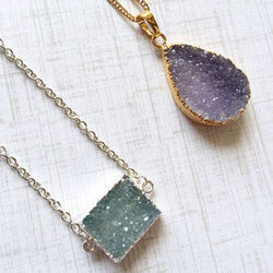 Electroplated Gold Druzy Gemstone Silver Necklace