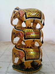 Wooden Elephants Painting Tower