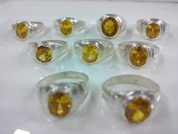 Synthetic Yellow Ad Stone White Metal Ring