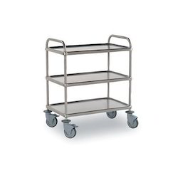 Stainless Steel Silver Color Kitchen Service Trolley