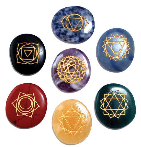 7 Chakra Symbols Crystal Carvings Set Chandrakshi Creation Pune