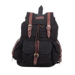 Black Canvas Backpack Bag