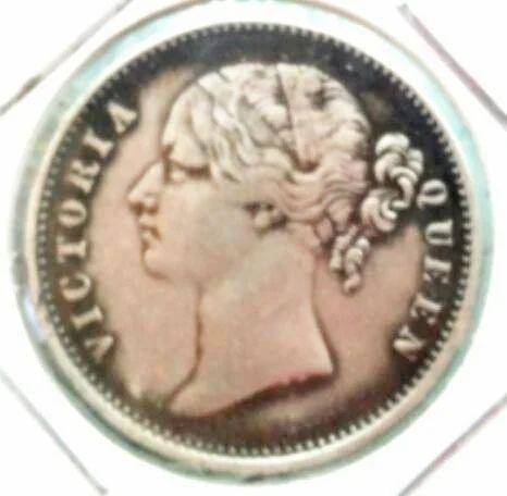 1840 Divided Legend Queen Victoria One Ru Silver Coin