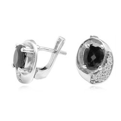 Oval Shaped Onyx CZ Earrings