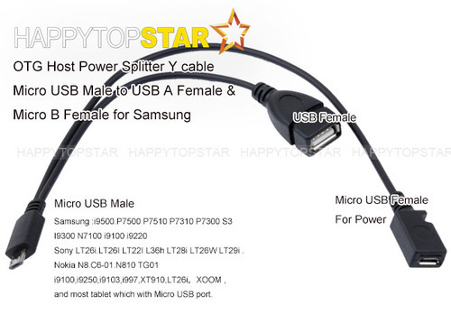 Micro USB Male To Micro USB Female Host OTG Cable Power
