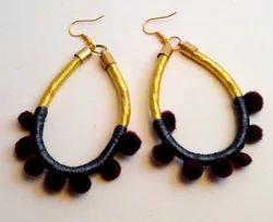 Silk Earrings With Pom Pom
