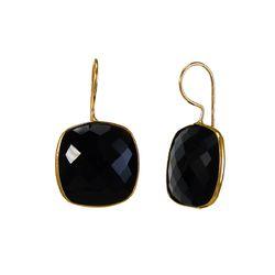 Black Onyx Cushion Shape Bezel Set Earrings
