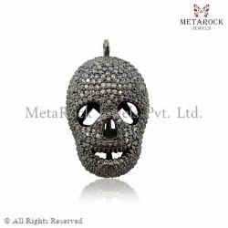 Diamond Skull Charm Pendant