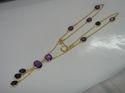 Amethyst Gold Plated Bezel Set Necklace