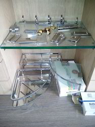 Brass, Ss And Glass Bathroom Shelves