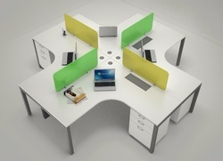 Plywood White Open Desking System