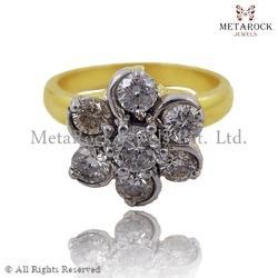 Filigree Diamond 14k Gold Silver Ring