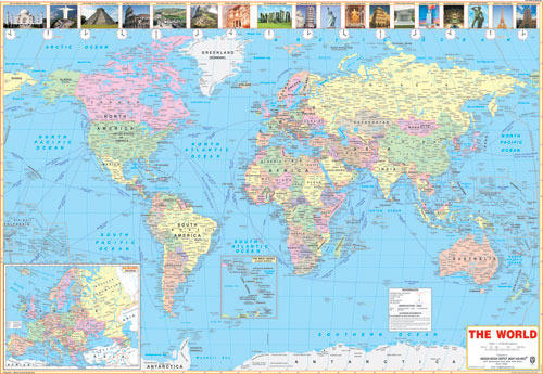 World map 100x70 cms duniya ka naksha indian book depot delhi world map 100x70 cms gumiabroncs Images