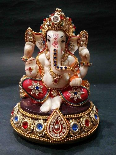 India Meets India Handicraft Lord Ganesha And Laxmi Ji Fibre Statue Wall D/écor Best Gifting Made By Awarded Indian Artisan 7x5 Inch