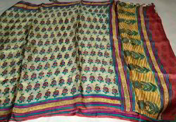 Block Printed Tussar Saree
