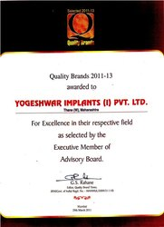 Quality Brands 2011-13 Awarded to Yogeshwer Implants (I) Pvt.Ltd.