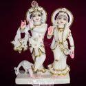 Golden Radha Krishna Marble Statue