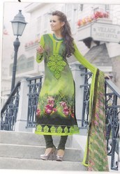 Parrot Green And Black Printed Suit