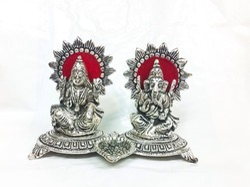 White Metal Laxmi Ganesha Deepak