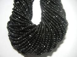 Black Spinel Gemstone Faceted Rondelle 3-4mm Beads Strands