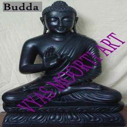 Black Stone Buddha Statue
