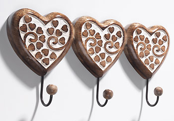 Wooden Decoratives Heart Shaped Carved Wooden Wall Hooks