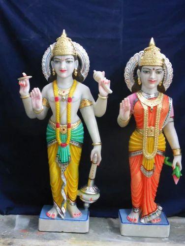 Laxmi Narayan Statue Marble Vishnu Laxmi Statue