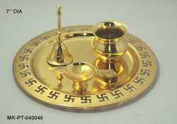 Brass Gold Plated Puja Thali