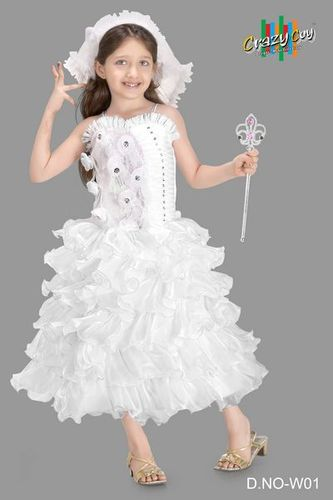 White Party Wear Princess Kids Gowns, Rs 765 /piece(s), Real Choice ...