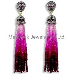 Pink Tourmaline Beads Tassel Earrings
