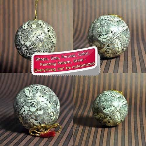 Paper Mache Christmas Ornament.Artistic White Color Holiday Decoration Ball Bauble