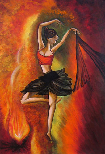 sizzling dance acrylic canvas painting