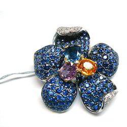Diamond N Sapphire Ring
