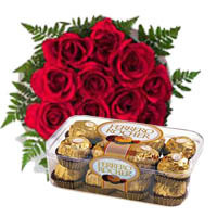 Red Rose Bunch with Ferrero Rocher