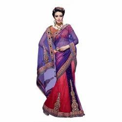 Purple And Red Net Fabric Lehenga Saree