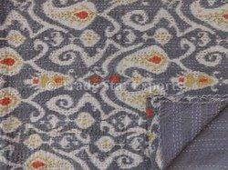 Ikat Paisley Print Kantha Quilt