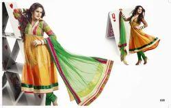 Chiffon Anarkali Party Wear Salwar Kameez, Dry clean