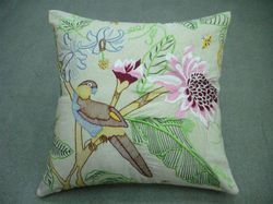 Bird Embroidery Cushion Cover