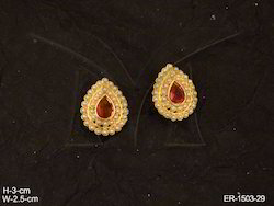 Paan Shaped Joint Moti Layered Earrings