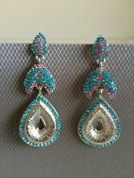 Blue Silver Long Earrings