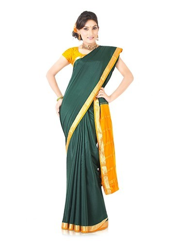 2a35f0841ea33 Bottle Green Crepe Silk Saree with Jacquard Weave Motifs - Indusdiva ...