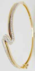 Diamond Gold Twisted Half Bangle