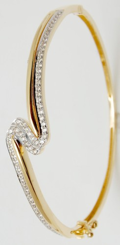 Diamond Gold Twisted Half Bangle at Rs piece
