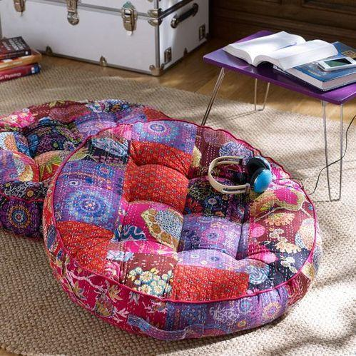 Patchwork Sari Kantha Floor Cushion Cover In Round Shape - J K ...