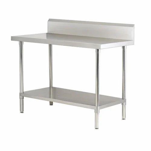 Stainless Steel Rectangular Work Table Splash Back