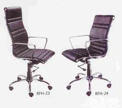 Black Leather Designer Revolving Chairs