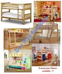Coconut Wood Modern Wooden Bunk Bed, Size: Standard